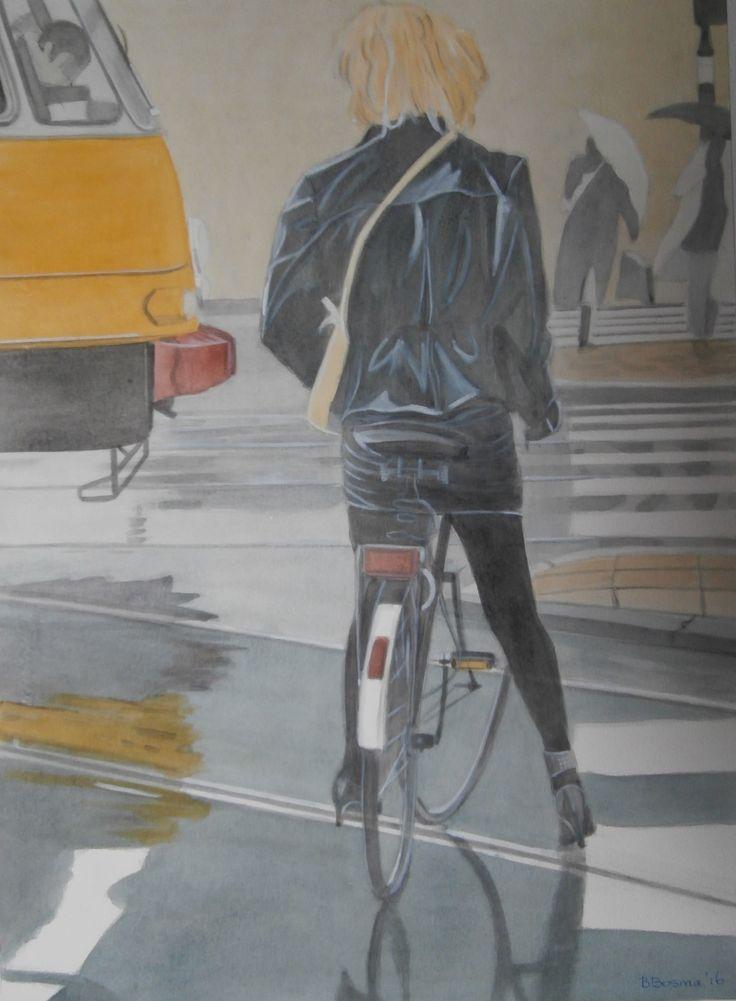 Hippe fietster in de Amsterdamse regen; schilderij/painting van/by Bob Bosma, Heiloo (naar het origineel van Tjalf Sparnaay)