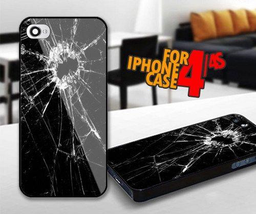 Broken Lcd for iPhone 4 / 4s Black case | iPhoneCustomCase - Accessories on ArtFire