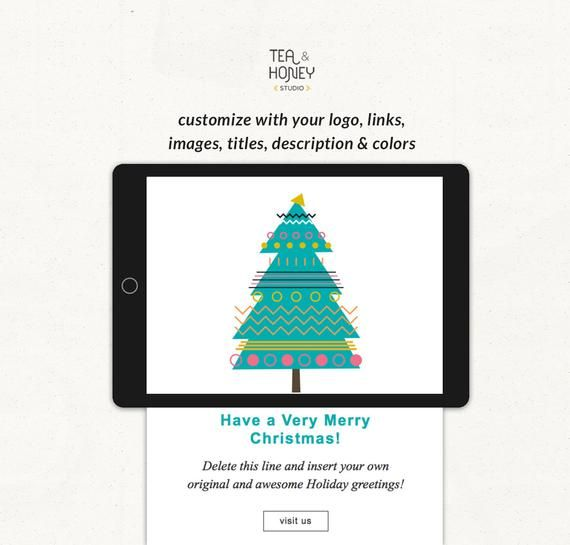 Christmas Tree Mailchimp Email Template With Free Modern Etsy Email Template Mailchimp Holiday Greetings Holiday Greeting Cards