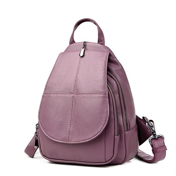 Women PU Leather Backpack Dual-use Retro Shoulder Bag#men #women  #bags #fashion
