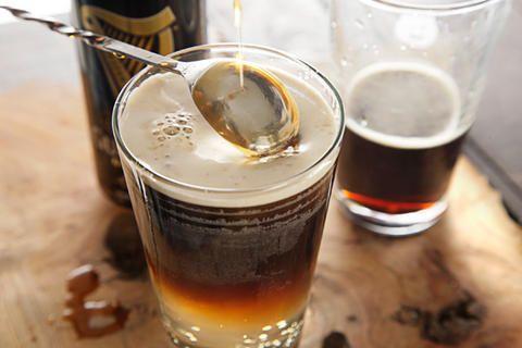 Guinness Cream Soda: Ginger Liqueur, Vanilla Liqueur, Club Soda, Guinness Draught.