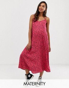 f47b748560b3 New Look Maternity ditsy midi slip dress in pink pattern in 2019 ...