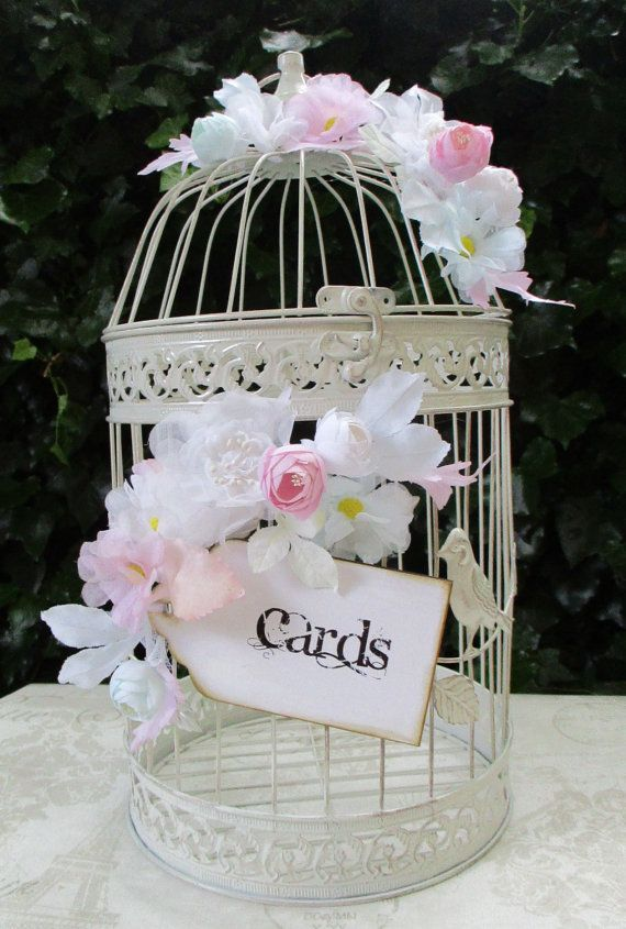 Birdcage Wedding Card Post Box Holder With Flowers And Sign
