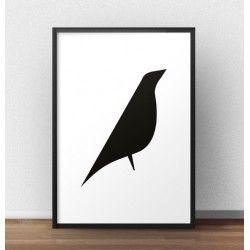 Nowoczesny plakat minimalistycznym z grafiką ptaka