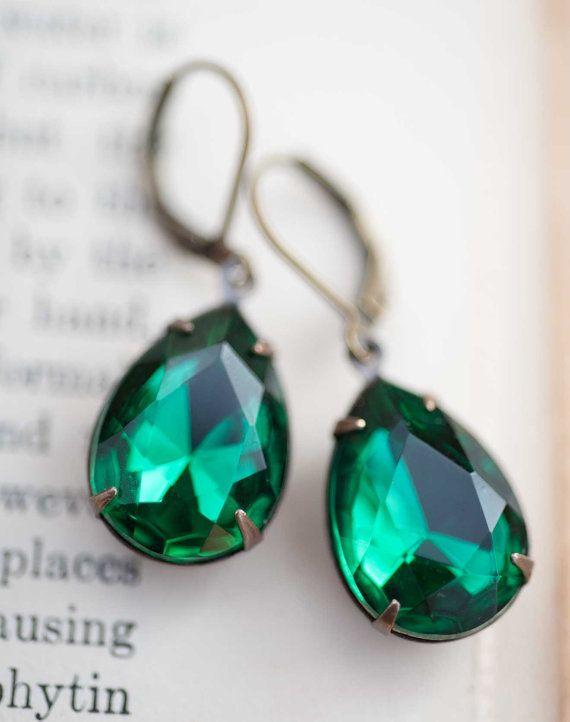 Smaragd Ohrringe Weihnachten Ohrringe Vintage von NotOneSparrow