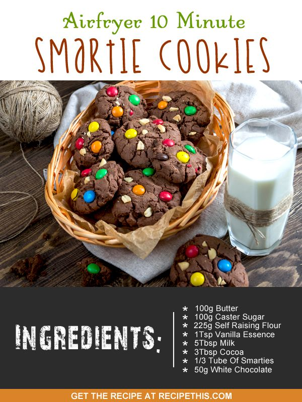 Airfryer Recipes | Airfryer 10 Minute Smartie Cookies | RecipeThis.com