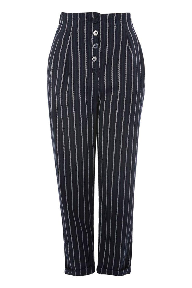 Button Stripe Peg Trousers - Topshop