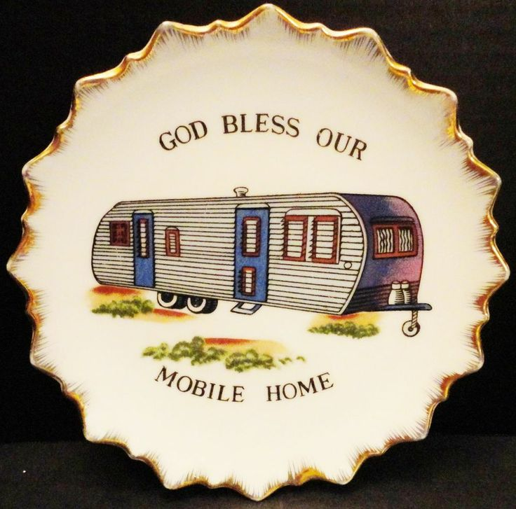 Vintage God Bless Our Mobile Home Decor Plate Arrow