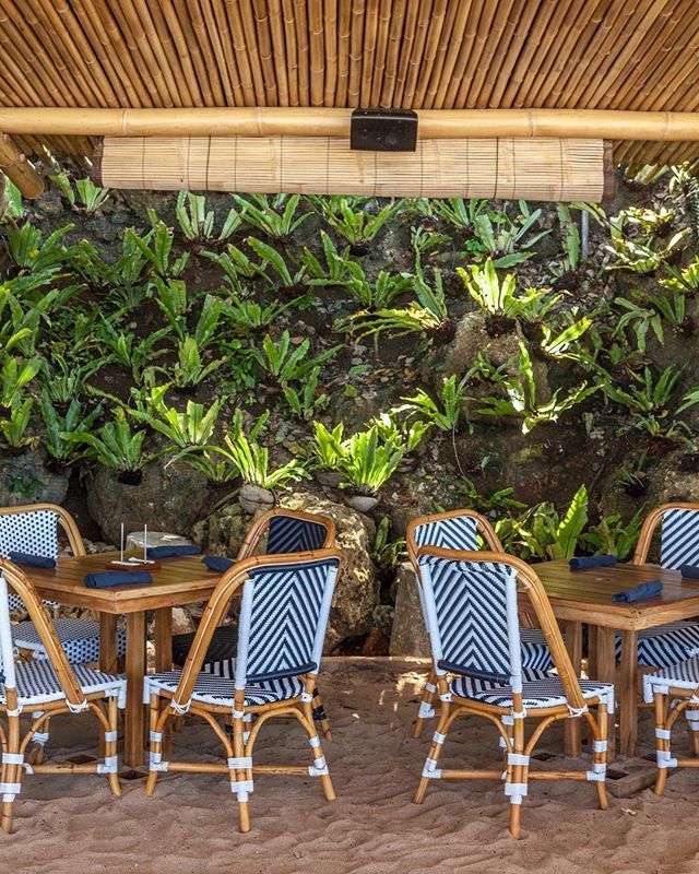 Sandy Floors Bamboo Ceilings Rattan Chairs And A Natural Stone Green Wall As Backdrop What A Great Combination Of Textures At The Sundaysbeachclub Restauran