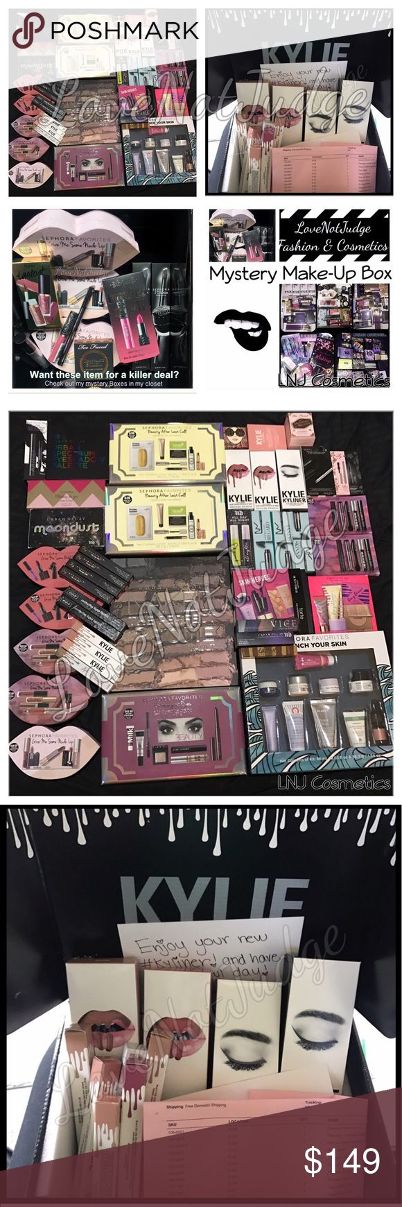 NEW! High end Only mystery makeup box 200$ value! Makeup Mystery box! 200$+ plus Value all new! Multiple values available- I have way more makeup than what is shown. Fully customized to you: message me after purchase and give me detailed info on fave brands and products- ) Main brands it could have and I carry: Urban Decay, Too Faced, MAC, Benefit, Kylie, Sephora. LNJ BEAUTY, bare minerals, Lorac, givenchy and sooo much more!  I GET new products bi weekly! Read my box reviews for info or ask…