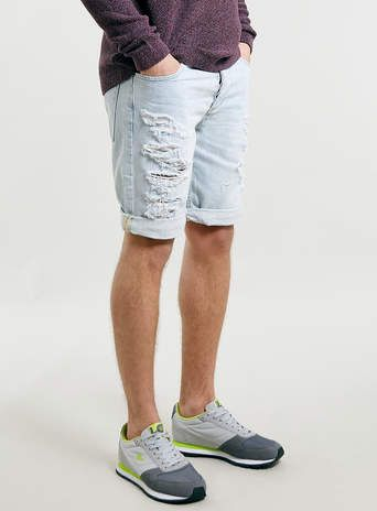 Bleach Ripped Denim Shorts - Men's Shorts - Clothing
