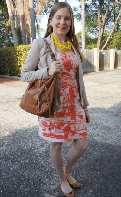 orange sheath dress spring office wear with yellow statement necklace brown bag cream blazer | awayFromBlue
