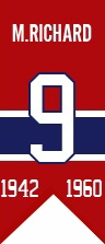 Maurice Richard : Le numéro 9 que s'était approprié Maurice Richard fut retiré et élevé au plafond du Forum le 6 octobre 1960. Le Temple de la renommée du hockey passa outre la période d'attente habituelle de trois ans et Richard fit son entrée parmi les immortels dès 1961.