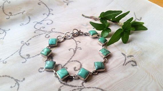 Vintage genuine Turquoise gemstone and 925 silver bracelet