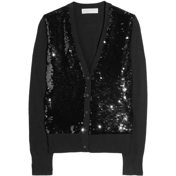 MICHAEL Michael Kors Sequined Cotton-Blend Cardigan ($94) ❤ liked on Polyvore featuring tops, cardigans, michael michael kors, women, sequin embellished top, sparkly tops, sequined tops, cardigan top and michael michael kors tops