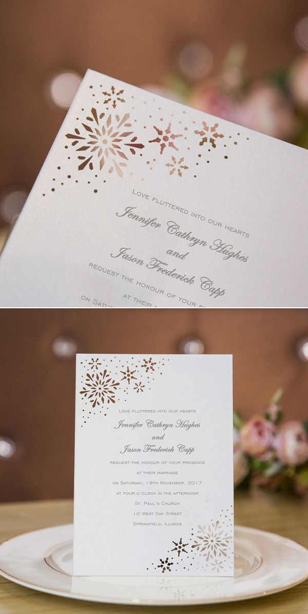 snowflakes laser cut winter wedding invitations #winterweddinginvitations