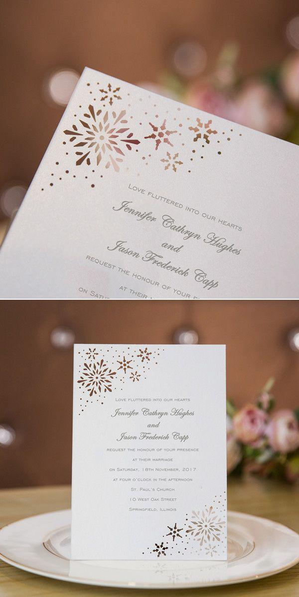 snowflakes laser cut winter wedding invitations #winterweddinginvitations