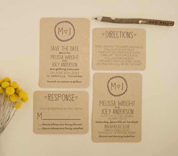 Rustic, simple, modern invitation set - Kraft Paper!   SplashOfSilver
