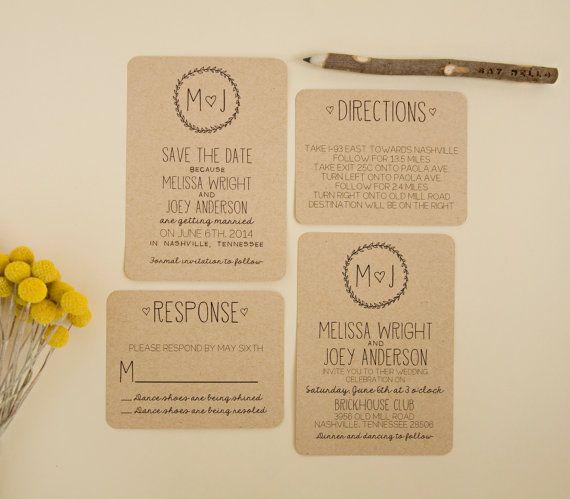 Wedding Invitation Suite DEPOSIT - Personalized, Digital, Printable, Custom, DIY - Rustic, KRAFT Paper, Sketches, Drawn (Wedding Design #22)