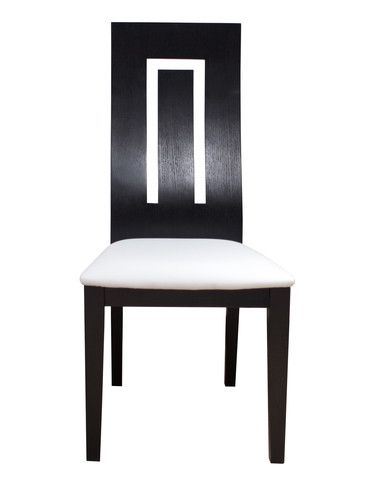 """The Isis Chair is a modern angled seat back dining chair. Available in two finishes, wenge and white lacquer, this dining chair elegantly blends wood and bonded leather. The inverted """"U"""" shape in the back makes this a unique chair for any dining room set. Available in:  White lacquer and light grey leather Wenge and White leather"""