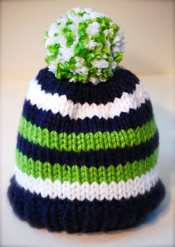 SEATTLE SEAHAWKS - SUPER BOWL Beanie - Blue Green & White 6 Stripe - 12th Man Hat for Baby, Children or Adults, Pom Pom Optional, Super Cozy and Warm... GO HAWKS!!!