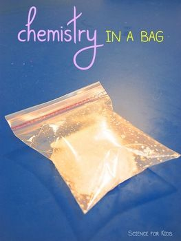 Kids science experiment in a bag. Iinstructions, photos and  student worksheets.