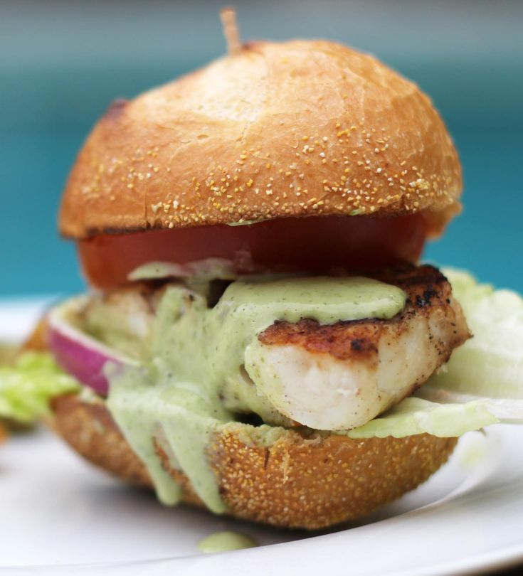 Grilled grouper slider with basil mayo all stacked up