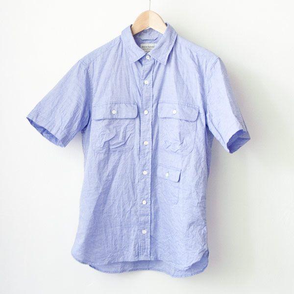 Manual Alphabet マニュアル・アルファベット / Giza 88 cl ox ss shirts : navy ギザ88 コットンリネン オックスフォード 半袖 シャツ ネイビー