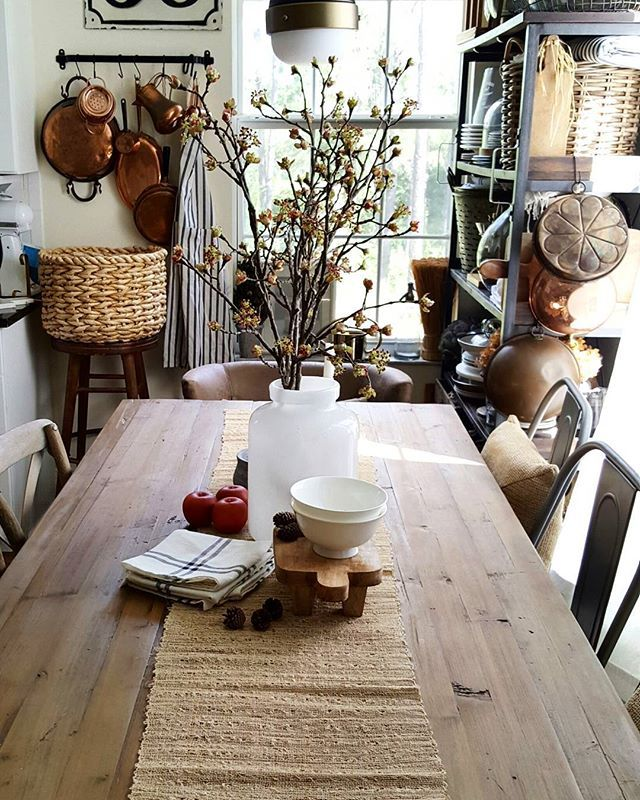 Copper Top Dining Room Tables Slate Farmhouse Kitchen: Fall Decor Dining Table From Shopping The House Challenge