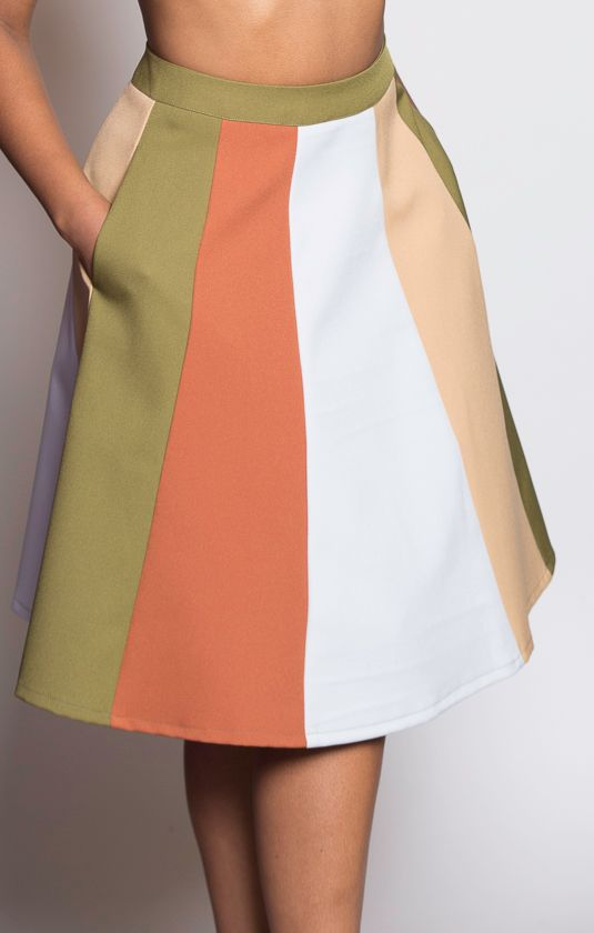 Our gorgeous colorblock skirt with pockets.