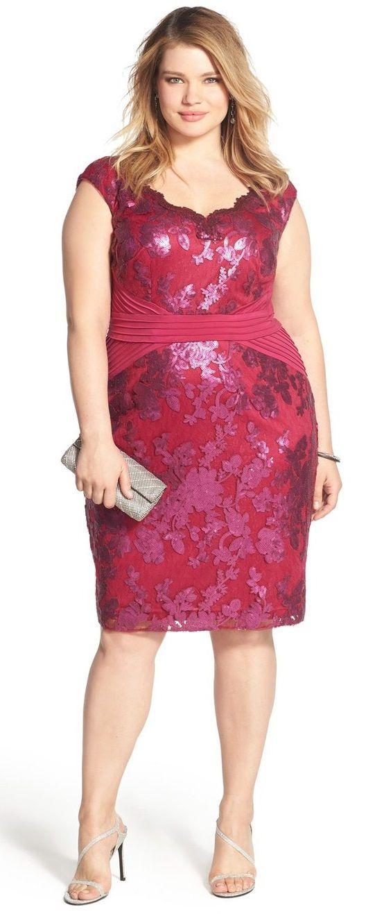 Plus Size Pintuck Jersey & Sequin Lace Sheath Dress
