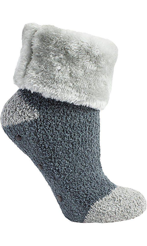MinxNY Non-Skid Fur Cuff Fuzzy Chenille Ash Grey Slipper Socks, One Size Fits All Best Price