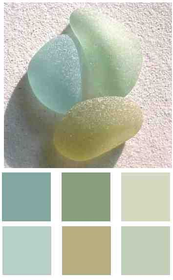 sea glass colors: Colors Charts, Beaches Colors, Glasses Colors, Open Floor, Paintings Colors, Coastal Colors, Colors Palettes, Colors Schemes, Sea Glasses