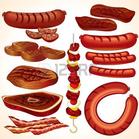 Cookout collectie-steaks, shish kebab, hamburgers, worst, Hot honden, bacon, braad worst  Stockfoto - 7491662