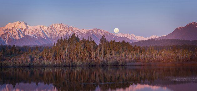 Moonrise, Okarito Lagoon, Westland, N.Z. art print photographed by Andris Apse.