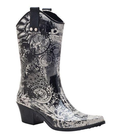 Black & White Midnight Cowboy Rain Boot