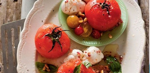 The brightest poached tomatoes with Mozzarella