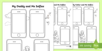 Father's Day Selfie Activity Sheet - dad, daddy, pop, pa, grandad, worksheet