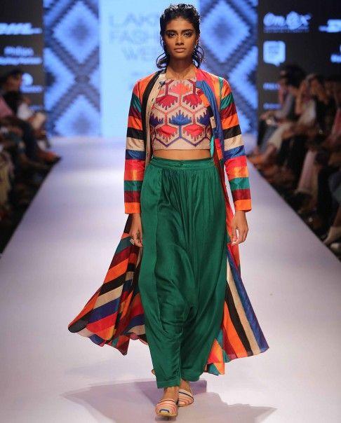 Forest Green Dhoti pants - Swati Vijaivargie - LFW Winter/Festive '15 - Off The Runway