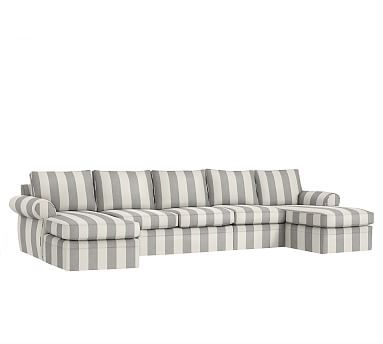 Pearce Sectional S C Premium Awning Stripe 4 Piece Chaise