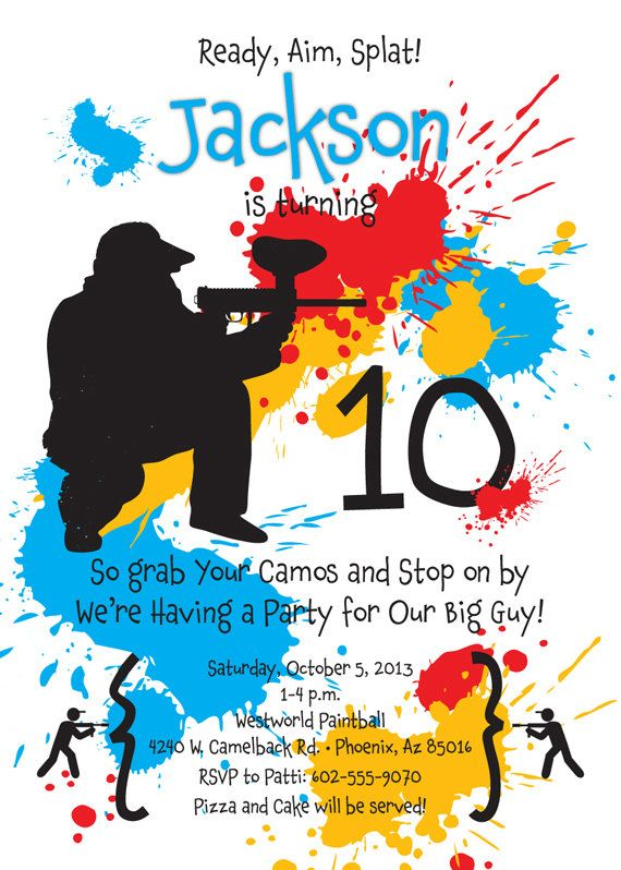 paint ball birthday party invitation for kids