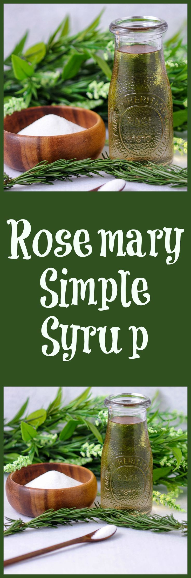 Rosemary simple syrup for cocktails, tea, mocktails. Sugar, rosemary and water!