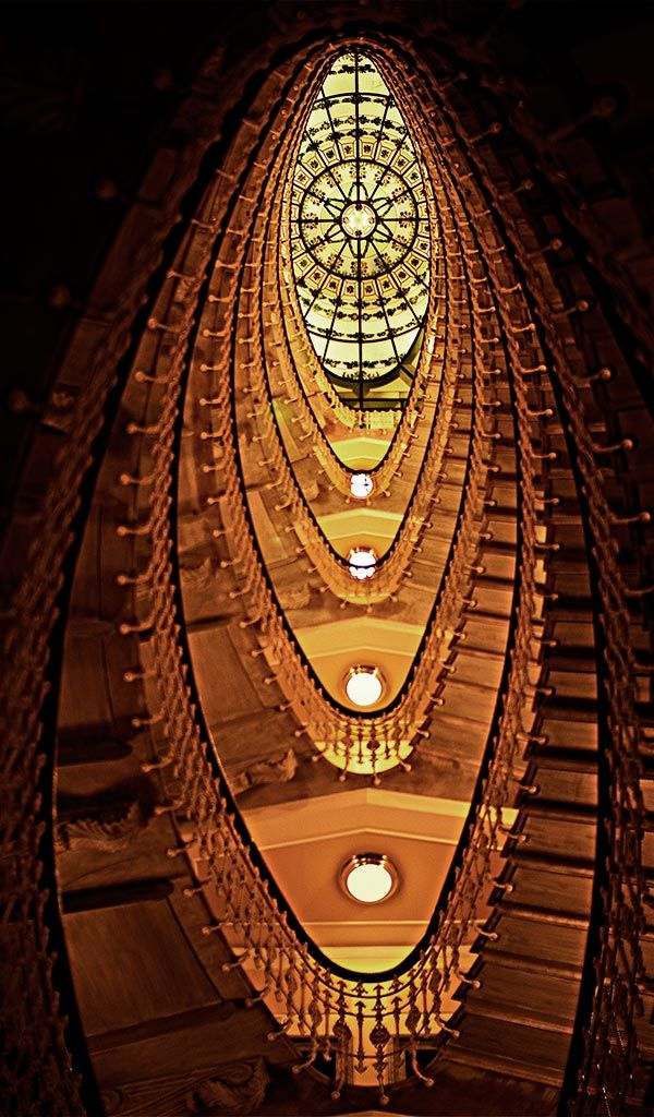 Classic Staircase in Bristol Palace Hotel in Genoa - Italy