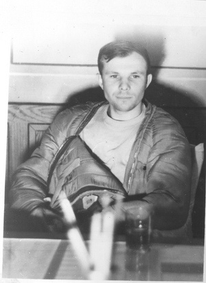 Yuri Gagarin right after the flight