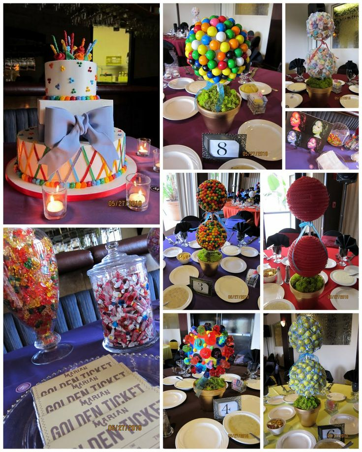 Table Decorations for a Willy Wonka themed party