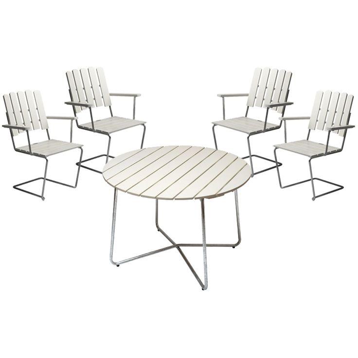 4 st fåtölj A2 + bord 9A 100 cm, vitlack i gruppen Rum / Utomhus / Utomhusmöbler hos RUM21.se (Grythyttan5)