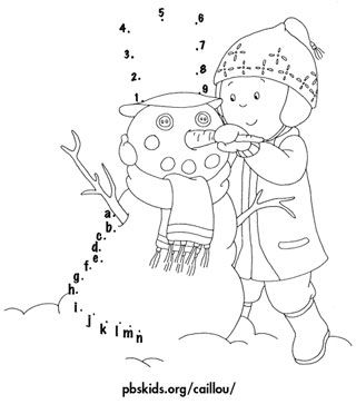 Coloring pages: Caillou Building a Connect-the-Letters Snowman