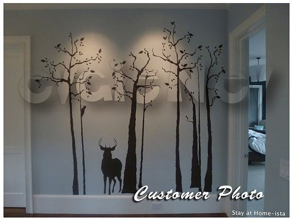 Trees with Deer Wall Decals  Home Decoration Wall di evgieNev, $90.00