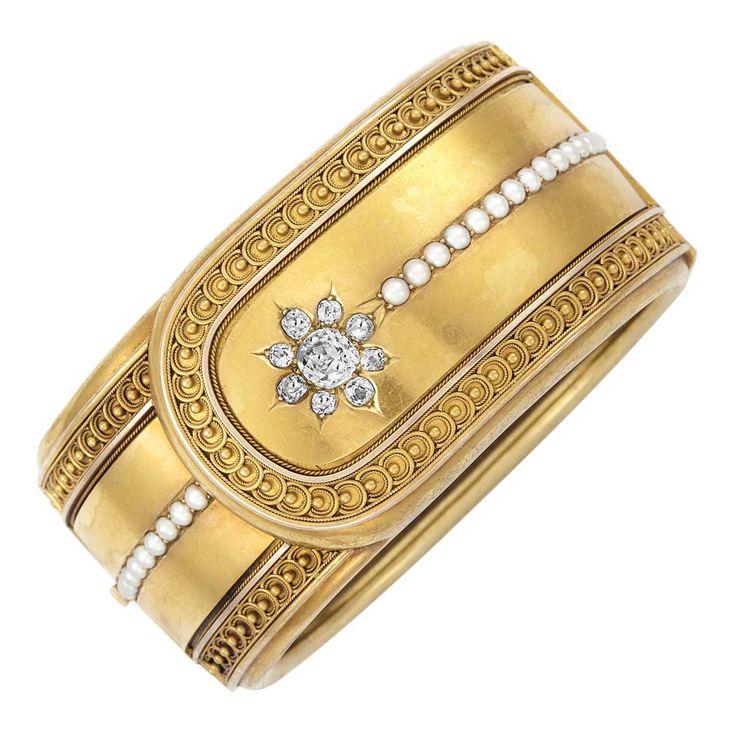 Antique Gold, Diamond and Split Pearl Cuff Bangle Bracelet