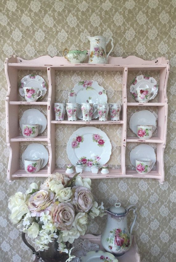 Shabby Cottage Chic Pink Wall Curio Cabinet,Plate Rack,Hanging Display Shelf, Vintage Bowed Front Hanging Wall Shelf